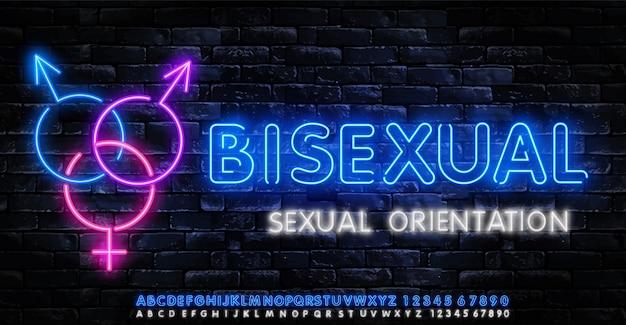 Biseksuele neon pictogrammen instellen. seksuele oriëntatie concept collectie lichte borden.