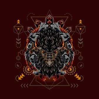Bison cyborg style sacred geometry