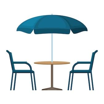 Bistro ronde blauwe houten tafel met open parasoltent en twee stoelen