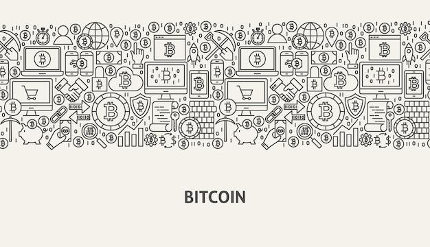 Bitcoin-bannerconcept. vectorillustratie van lijn webdesign.