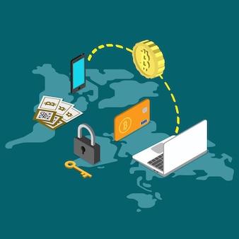Bitcoin beveiligde wereldwijde betaling, geldoverdracht plat