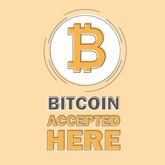 Bitcoin-concept. cryptocurrency-logo zucht. digitaal geld. bitcoin wordt hier geaccepteerd. vector munt plat ontwerp