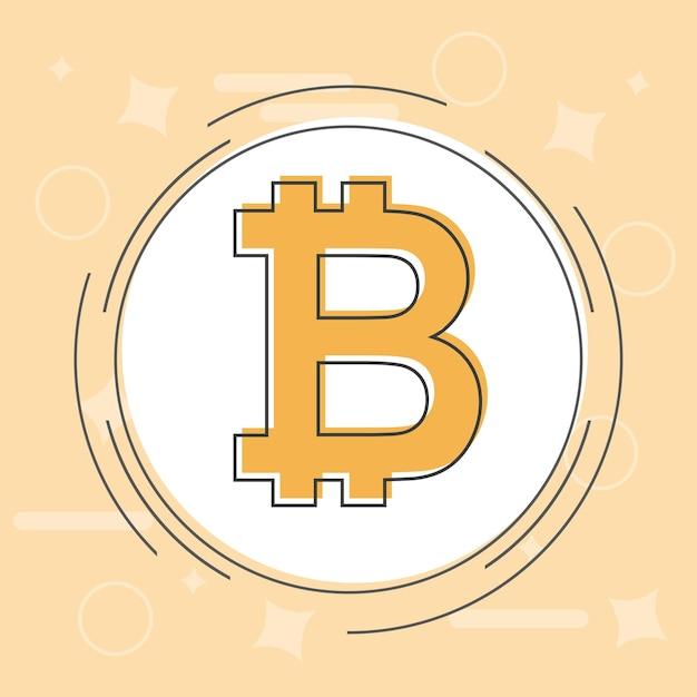 Bitcoin-concept. cryptocurrency-logo zucht. digitaal geld. blokketen, financiënsymbool. vlakke stijl vectorillustratie