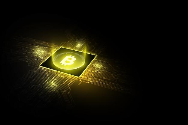 Bitcoin-concepten met gedrukte circuits met bitcoin- en microchip-processors