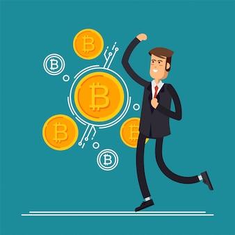 Bitcoin-conceptillustratie van zakenmansprongen verheugt zich omdat hij investeringen doet voor bitcoin en blockchain. plat ontwerp