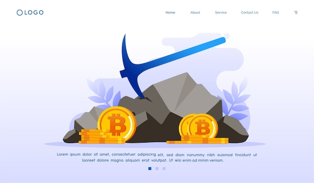 Bitcoin cryptocurrency bestemmingspagina website illustratie