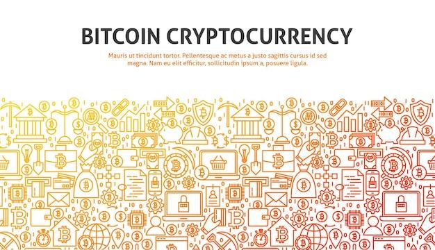 Bitcoin cryptocurrency-concept. vectorillustratie van lijn webdesign. sjabloon voor spandoek.
