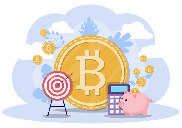 Bitcoin cryptocurrency-illustratie in vlakke stijl