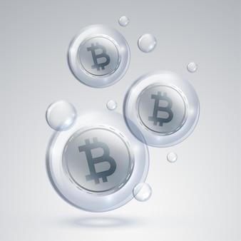 Bitcoin cryptocurrency markt zeepbel concept achtergrond