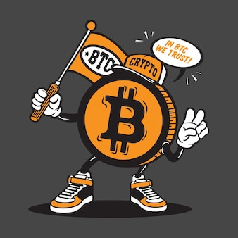 Bitcoin cryptocurrency mascotte karakter ontwerp