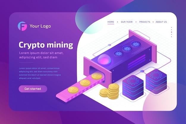 Bitcoin cryptomining boerderijconcept. blockchain-concept van het delven van virtueel geld