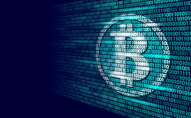 Bitcoin digitaal cryptocurrency-teken binair codenummer, big data