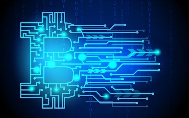 Bitcoin digitaal geld, cryptocurrency-systeem en mijnbad