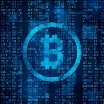 Bitcoin digitale valuta. blockchain-systeem voor cryptocurrency en mining. symbool van bitcoin op blauwe binaire code. abstracte achtergrond illustratie