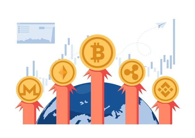 Bitcoin en cryptocurrency-raket vliegen de wereld uit. cryptocurrency-investering en blockchain-technologieconcept.