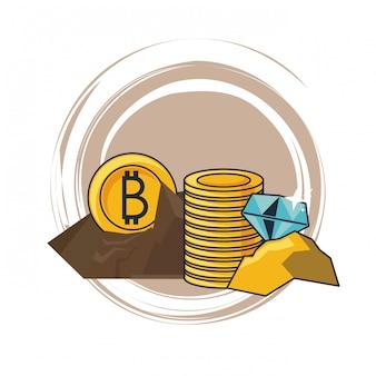 Bitcoin en diamanten mijnbouw