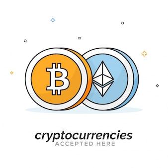 Bitcoin en ether crypto valutamunten in vlakke stijl.