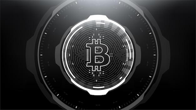 Bitcoin futuristische scifi-technologie cryptocurrency getextureerde munt hitech-illustratie