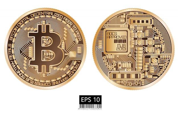 Bitcoin. fysieke bitmunt. digitale valuta. cryptocurrency. dubbelzijdige munt met bitcoin symbool geïsoleerd