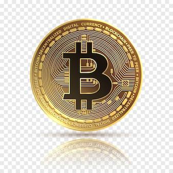 Bitcoin. gouden cryptocurrency-munt. elektronica financiën geldsymbool. blockchain bitcoin geïsoleerde pictogram.
