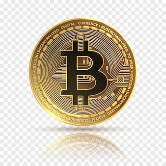 Bitcoin. gouden cryptocurrency-munt. elektronica financieren geldsymbool.