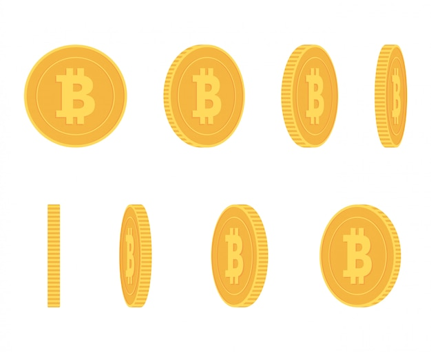 Bitcoin gouden munt op verschillende hoeken voor animatie vector set