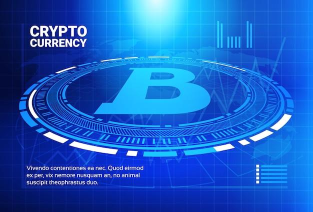 Bitcoin grafieken op blauwe wereld kaart achtergrond crypto valuta handel concept gegevens infographic banner