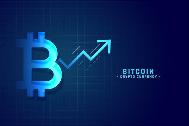 Bitcoin-groeigrafiek met opwaarts pijlontwerp