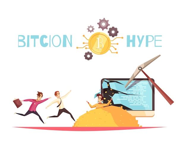 Bitcoin hype-ontwerpconcept
