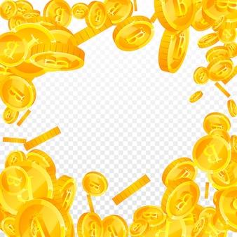 Bitcoin, internet valuta munten vallen. fantastische verspreide btc-munten. cryptocurrency, digitaal geld. verleidelijke jackpot, rijkdom of succesconcept. vector illustratie.