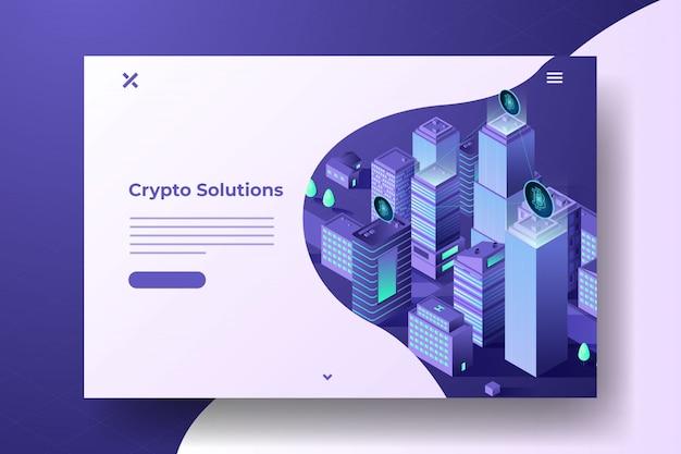 Bitcoin isometrische stadsbanner