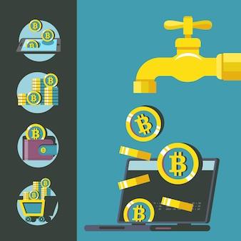 Bitcoin kraan. cryptocurrency is de valuta van de toekomst. conceptuele vectorillustratie. bitcoin mijnbouw pictogrammen.