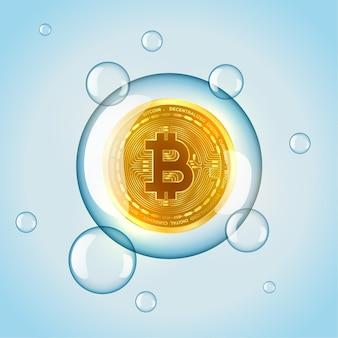 Bitcoin markt zeepbel concept achtergrond
