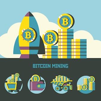 Bitcoin-mijnbouw. conceptuele afbeelding. bitcoin mijnbouw pictogrammen. vectorclipart.