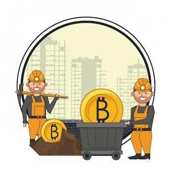 Bitcoin mijnbouw en arbeiders met pick