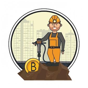 Bitcoin mijnbouw en werknemer met boor