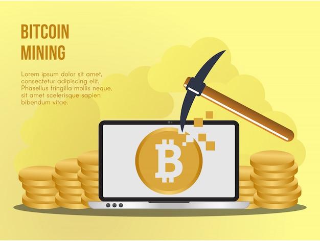 Bitcoin mijnbouw illustratie vector ontwerpsjabloon