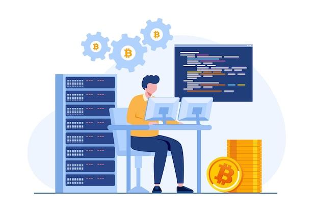 Bitcoin-mijnbouw met supercomputer, muntlandbouw, cryptocurrency-concept, vlakke illustratievector