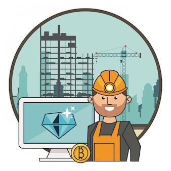 Bitcoin-mijnbouwcomputer en -werker