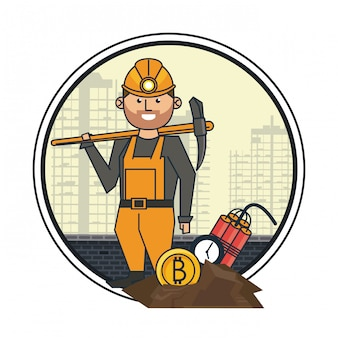Bitcoin mijnwerker met pick en tnt