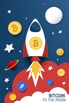 Bitcoin naar de maan. vector illustratie