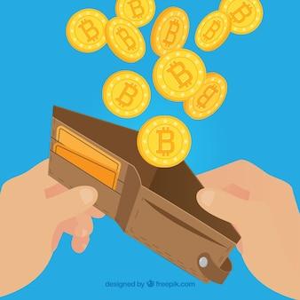 Bitcoin-ontwerp met portemonnee