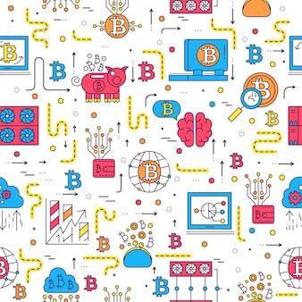 Bitcoin overzicht iconen collectie set.