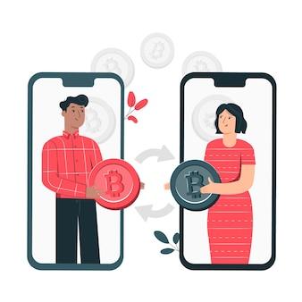 Bitcoin p2p concept illustratie