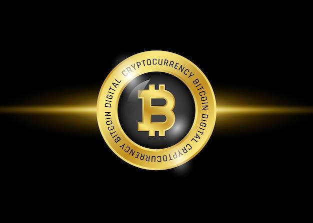 Bitcoin pictogram logo sjabloon. digitale crypto valutasymbool. gouden munt op zwarte achtergrond