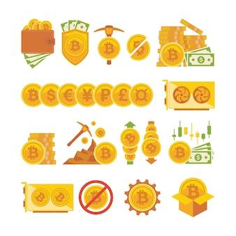 Bitcoin pictogramserie. bitcoin digitaal geld, cryptocurrency-systeem en mijnbad.