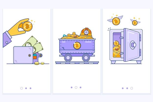 Bitcoin-portefeuillelogo met bankkaart. karretje met geld. veilig met bitcoins. bedrijfsconceptenillustratie moderne dunne lineaire slag vectorpictogrammen.