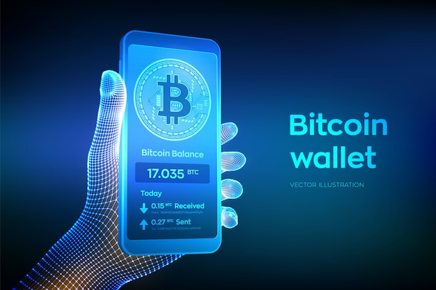 Bitcoin-portemonnee-interface op het smartphonescherm. close-up mobiele telefoon in draadframehand.