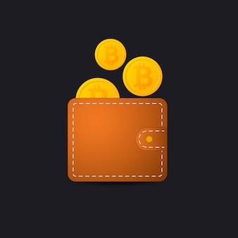 Bitcoin portemonnee vector pictogram crypto valuta app