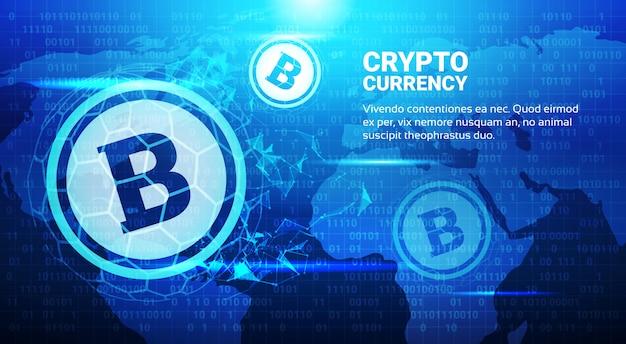 Bitcoin-symbool op blauwe wereld kaart achtergrond crypto munt handel concept mijnenetwerk